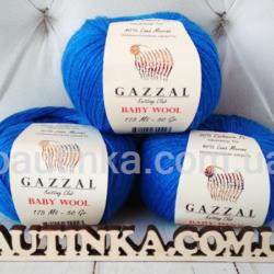 Gazzal Baby wool (Газзал беби Вул) 830 синий - шерстяная пряжа