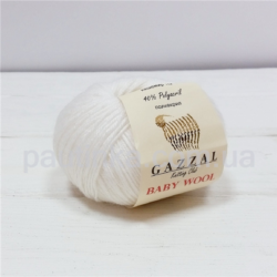 Gazzal Baby wool (Газзал беби Вул) 801 белый - шерстяная пряжа