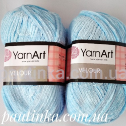 Плюшевая пряжа Велюр (Yarnart Velour) 851 голубой