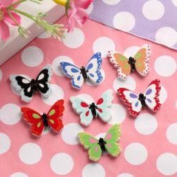 Бабочки набор 5шт деревянные пришивные