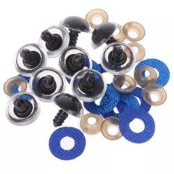 Глазки блестящие 20мм синие с фиксатором (пара)