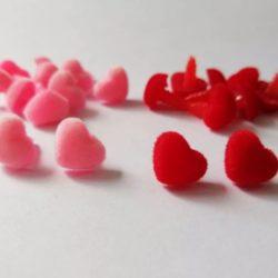Носик бархатный сердце красный 13 мм - с фиксатором