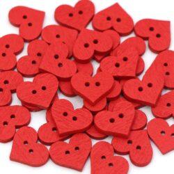 Набор сердечек 10шт красные деревянные