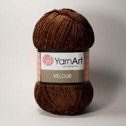 Плюшевая пряжа Велюр (Yarnart Velour) 852 коричневый