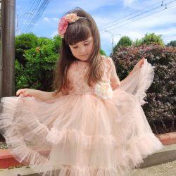 Платье персиковое пышное - 5 лет