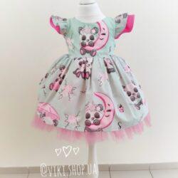 Платье хлопковое с мишками, розовый фатин- 1 год