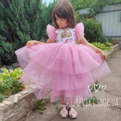 Платье хлопковое пышное с олененком и стразами - 2-4 года