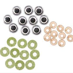 Глазки блестящие 16мм салатовые с фиксатором (пара)