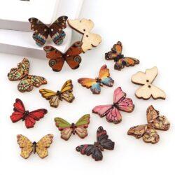 Бирки бабочки набор 5шт деревянные пришивные