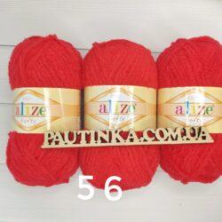 Плюшевая пряжа Softy Alize (Софти Ализе) 56 красный
