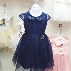 Платье синее с гипюром и фатином 110 размер